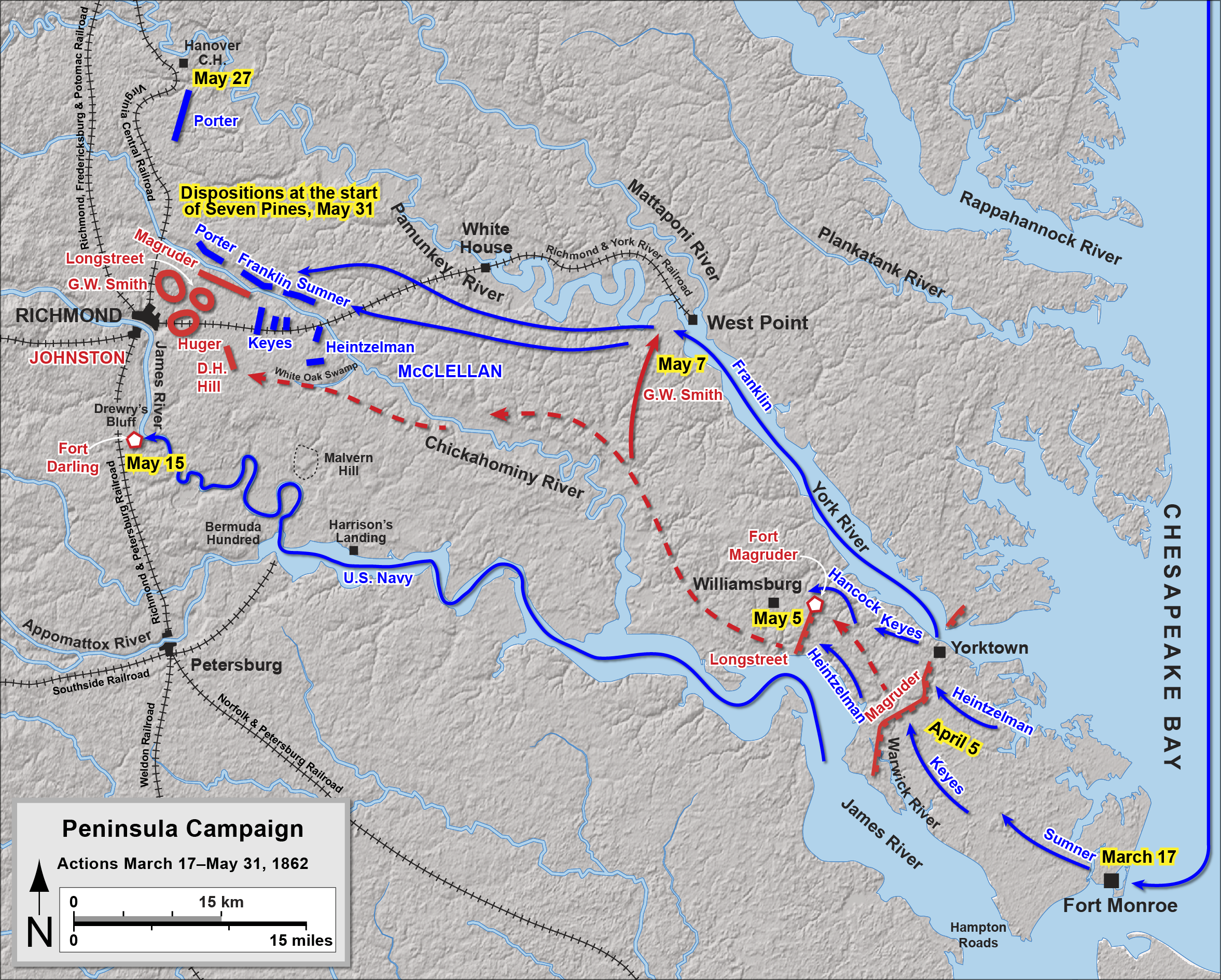 On To Richmond In  The Peninsula Campaign - Washington dc map during civil war
