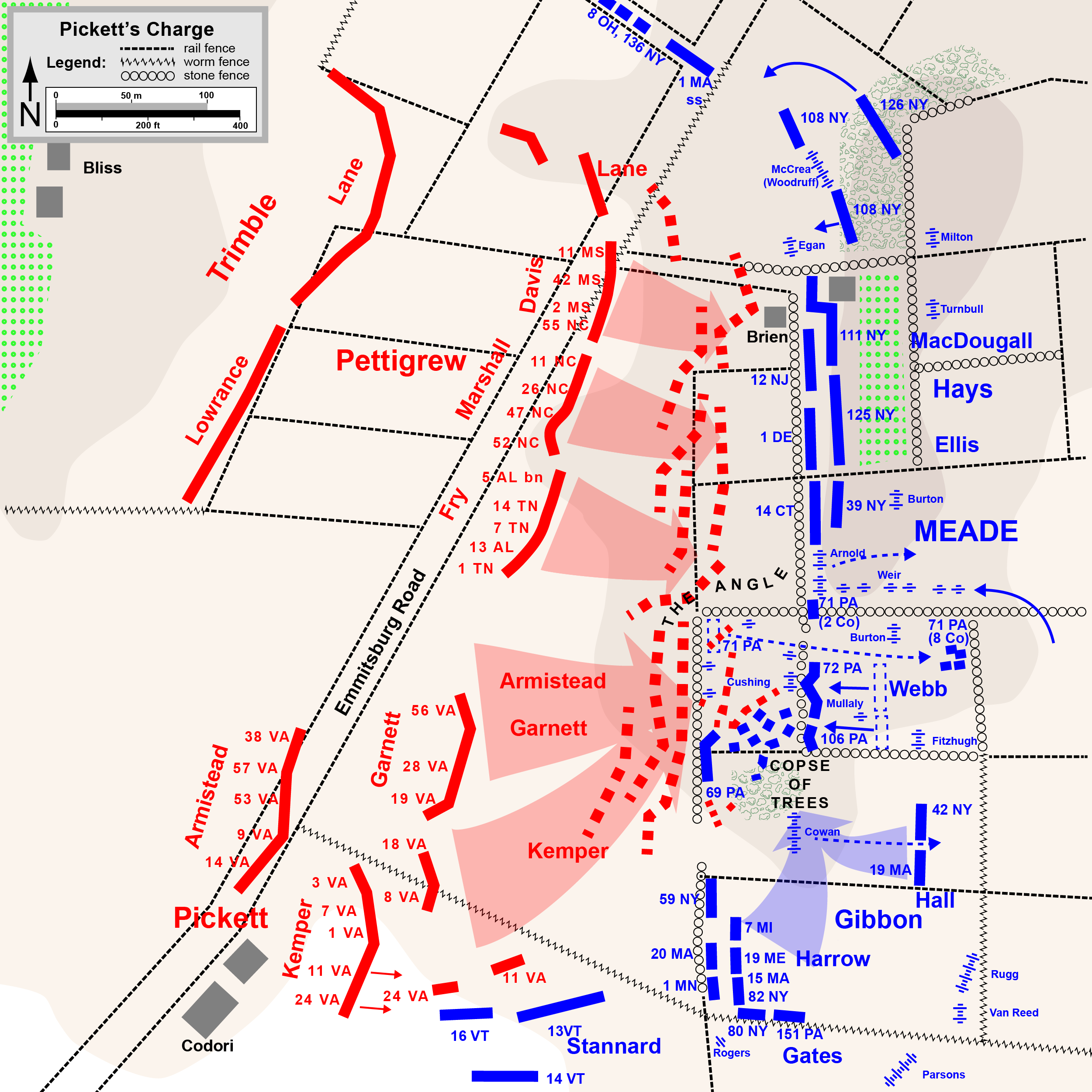 Hal Jespersen's map of Pickett's Charge