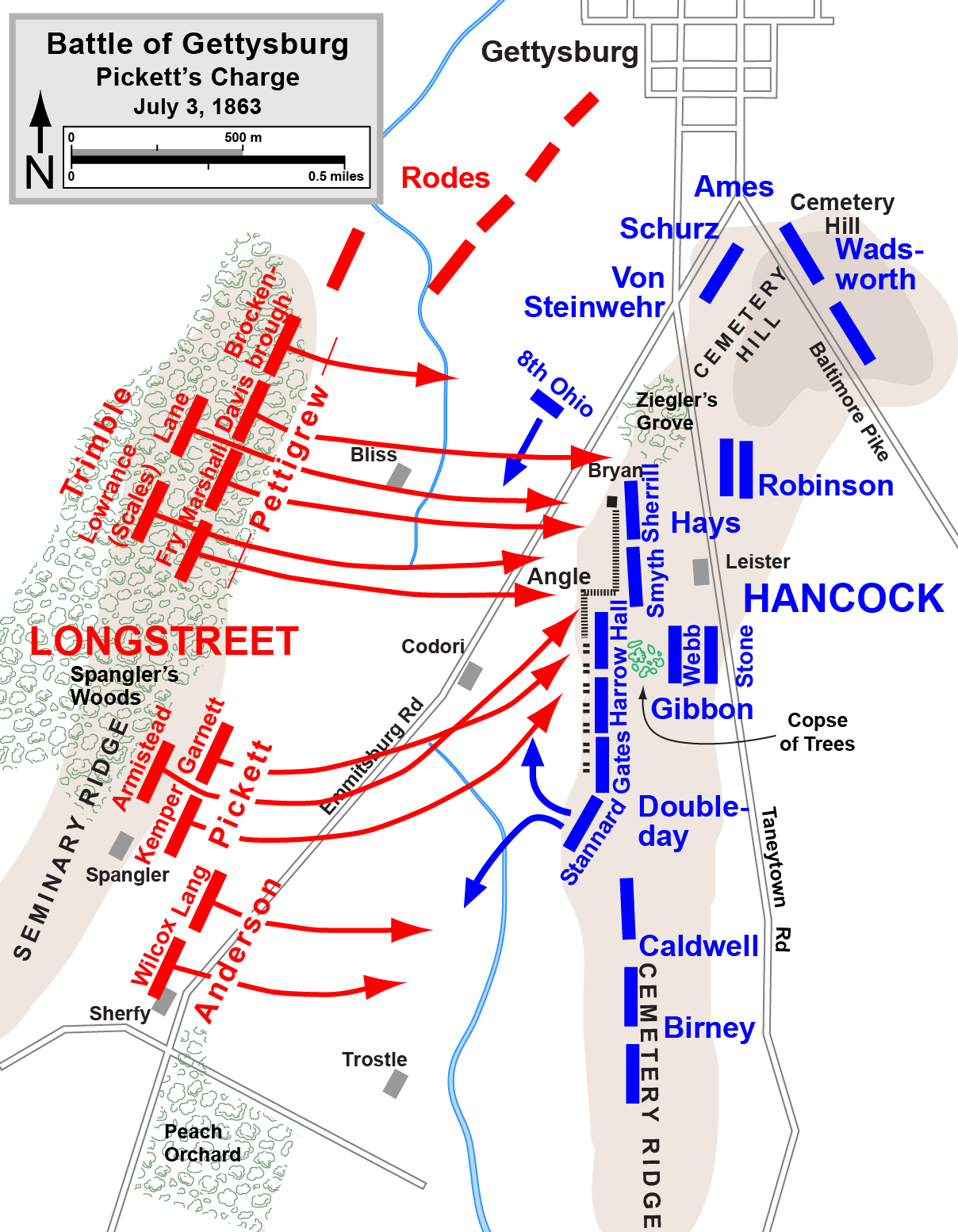 Walking Picketts Charge - Gettysburg on us map