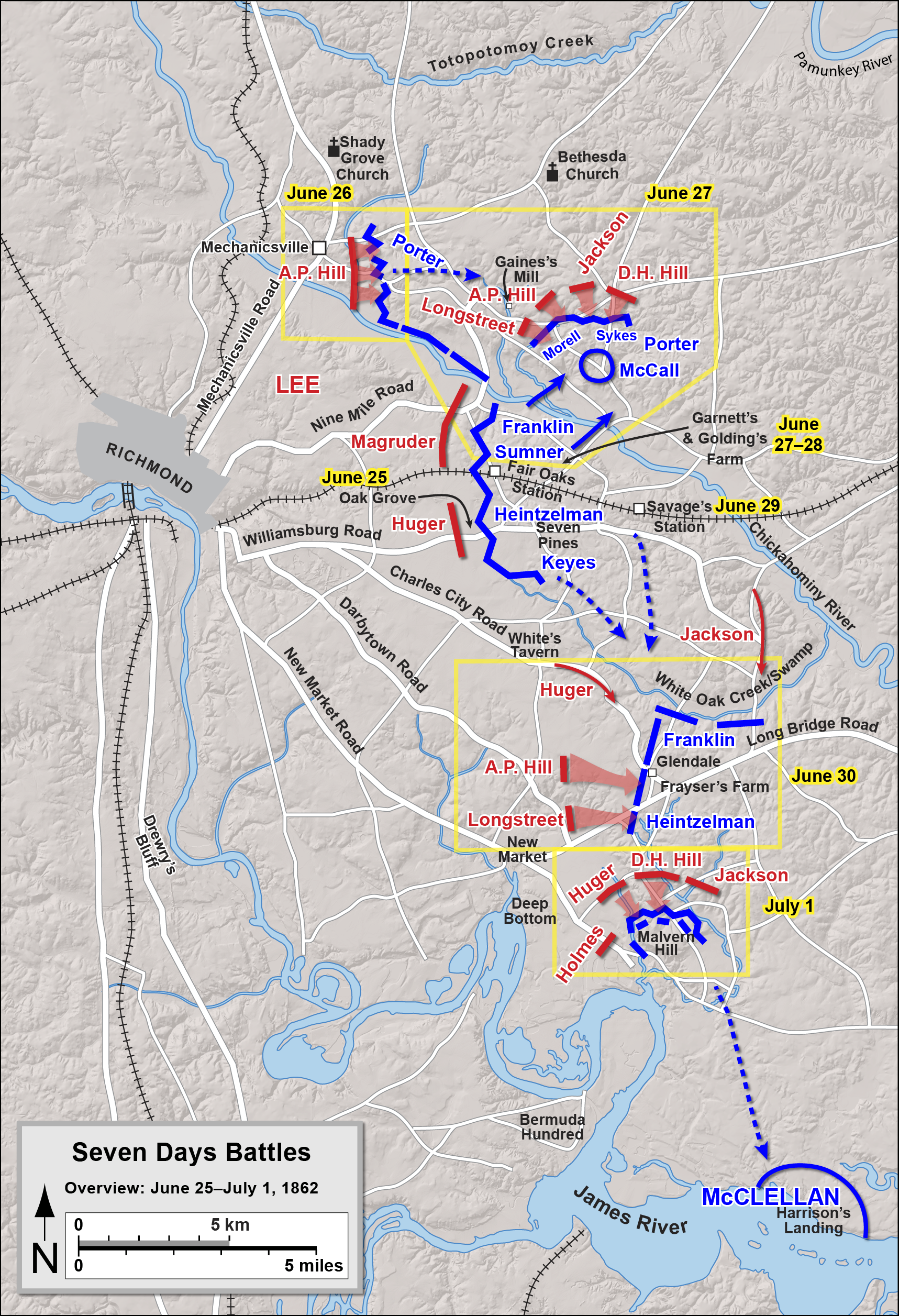 Map of the Seven Days Battles